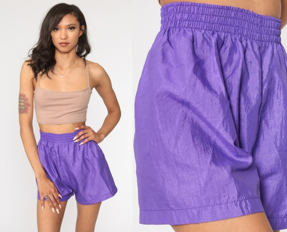 90s Shorts Thin Purple Jogging Shorts 90s Running High Waisted Retro Nylon Shorts Gym Shorts Vintage 1990s Elastic Waist Extra Small xs s
