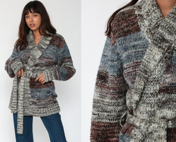 Bohemian Cardigan Striped Grey Wrap Sweater 70s Boho Space Dye Sweater BELTED Vintage Knit 1970s Hippie Sweater With Belt Large
