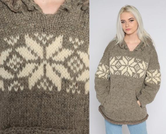 Hooded Wool Sweater 80s Fair Isle Sweater Knit Hoodie Taupe Sweater Vintage Nordic Sweater Boho Pullover Hood Hippie Jumper 1980s Medium