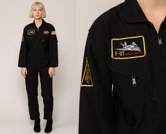 Army Jumpsuit TOP GUN COSTUME Military Coveralls Pants Pantsuit Vintage Tom Cruise Long Sleeve Romper Black Front Zip Extra Small xs