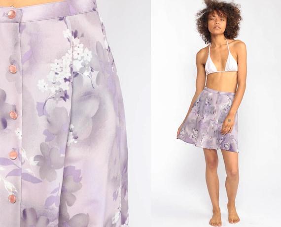 Button Up Skirt Purple Floral Skirt 90s Mini Grunge Boho Lavender A Line High Waist 1990s Vintage Hippie Drape Hipster Extra Small xs xxs