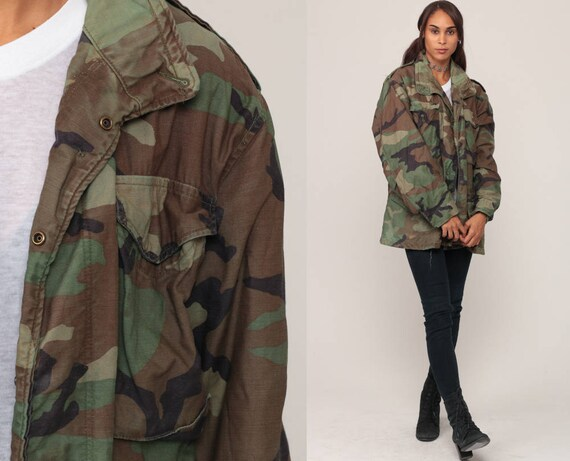 Camo Jacket Camouflage Jacket Military Patch Olive Drab Grunge 80s Commando Cargo Field Vintage Hipster Goth Large