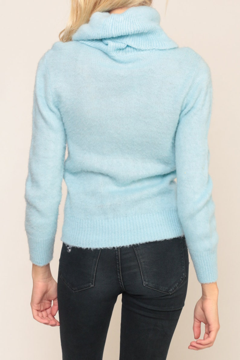 Baby Blue Sweater 80s TURTLENECK Sweater Pastel Pullover Jumper Hipster Vintage Plain Funnel Neck Small