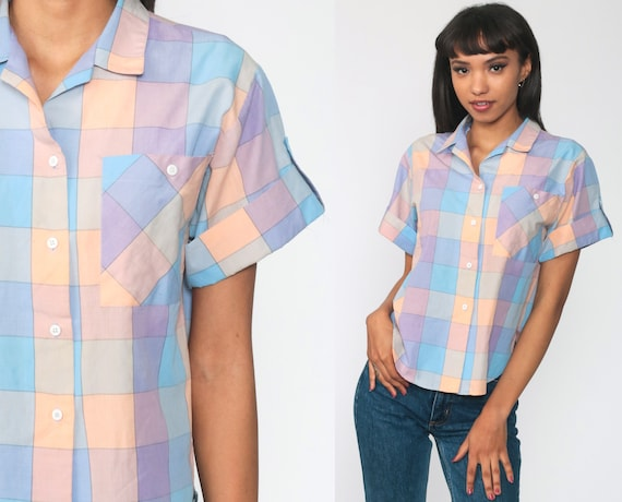 Pastel Plaid Blouse 80s Button Up Shirt Checkered Shirt Short Sleeve 1980s Check Print Top Vintage Preppy Small
