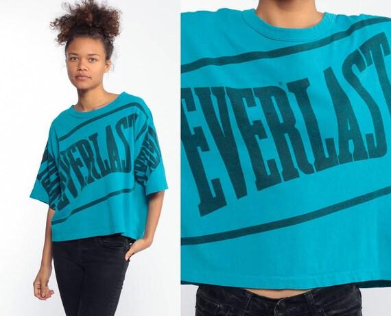 90s EVERLAST Shirt Turquoise Blue Retro T Shirt 80s TShirt Sportswear Shirt Spellout Oversize Athletic Shirt Vintage 1990s Streetwear Medium