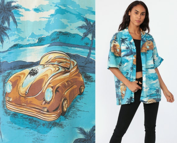 Tropical Car Shirt Surfer HAWAIIAN Blouse 80s Blue Top CLASSIC CAR Print Button Up Short Sleeve Surf Hipster Vintage Beach Extra Large xl l