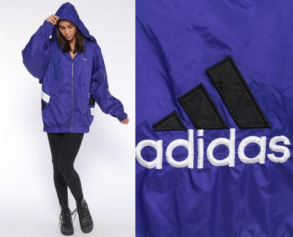 90s ADIDAS Hooded Windbreaker Zip Up  -- Hooded 90s Jacket Hooded Pullover Color Block Purple Black Sports Striped Extra Large xl l