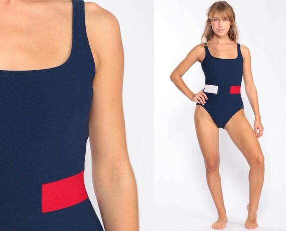 90s Bathing Suit Dark Blue Swimsuit Striped Bathing Suit One Piece Swim Suit Low Back Vintage Retro 80s Medium
