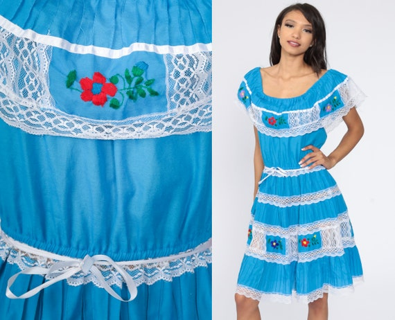 Mexican Peasant Dress Embroidered Off Shoulder Dre