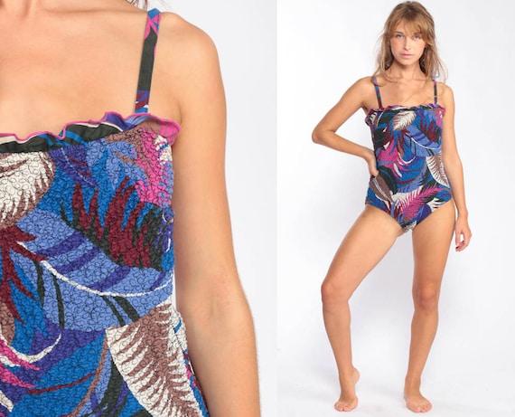 Tropical Swimsuit 80s Bathing Suit One Piece Swim Suit 80s Swimsuit Jungle Leaf Print RUFFLE Blue Pink Vintage 1980s medium