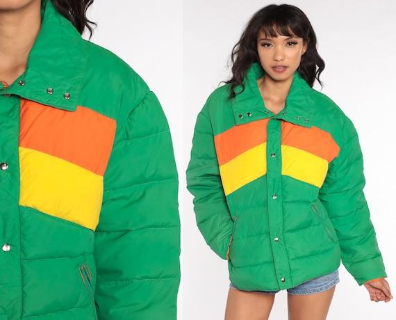Down Puffer Jacket Green Ski Jacket Retro 80s Striped Puffy Coat Winter 70s Color Block Orange Yellow 1980s 1970s Puff Medium Large