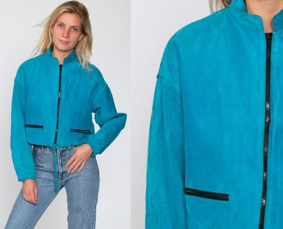 Turquoise Suede Jacket 90s Cropped Leather Jacket Blue Drawstring Waist Crop Biker Jacket 1990s Vintage Coat Zippered Chia Medium