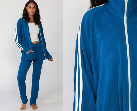 80s Track Suit Blue TWO PIECE Track Jacket Outfit 70s Jogging Pants White Striped Track Suit Sports Vintage Retro Zip Up Small Medium