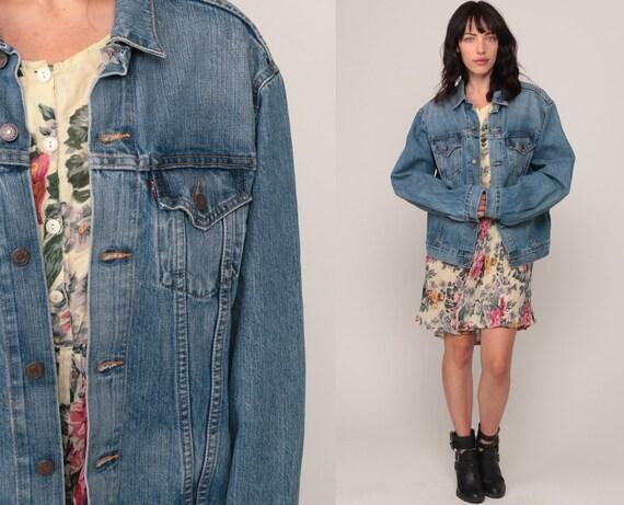 Denim Jacket LEVIS Jean Jacket 90s Denim Jacket Blue Levi Coat Trucker 1990s Vintage Retro Grunge Hipster Large