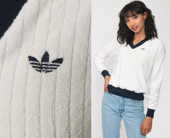 80s Adidas Sweatshirt Off-White Terry Cloth Shirt Tennis Sweatshirt Sports Shirt V Neck 70s Vintage Trefoil Pullover Jumper Retro Small