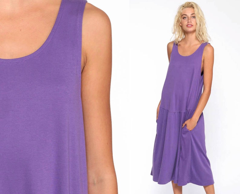 31b0c5afb5 Purple Sundress Plain Dress Plus Size 80s Normcore Boho Sun
