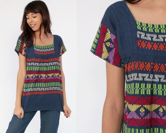 Guatemalan Embroidered Shirt Hippie Shirt Embroidered Top Aztec Mexican Blouse Blue Tunic Tribal Bohemian Vintage Boho Ethnic Small