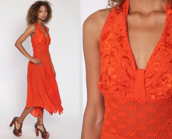 Mexican Halter Dress Handkerchief Orange Crochet E