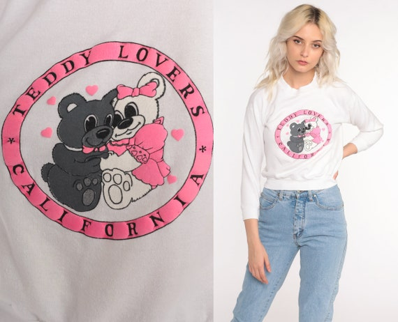 Teddy Bear Sweatshirt -- Teddy Lovers California Shirt Kawaii 90s Sweatshirt Retro Pullover 1990s Vintage White Crewneck Extra Small xs