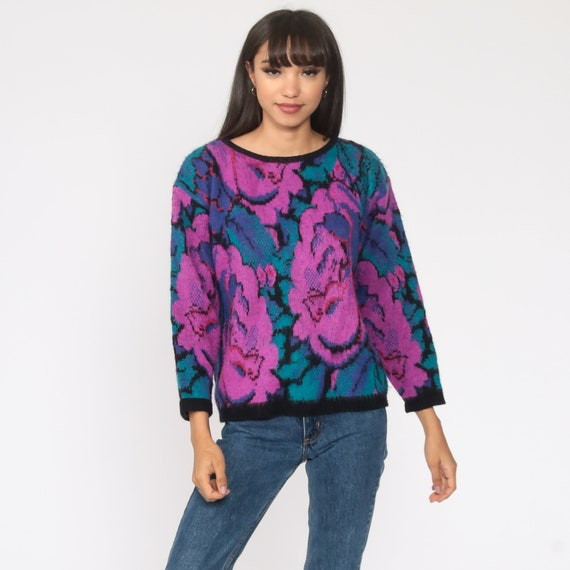 Oversize Sweater 80s Pink /& Purple Flowers and Patterns Sweater Women/'s M Big 80s Sweater