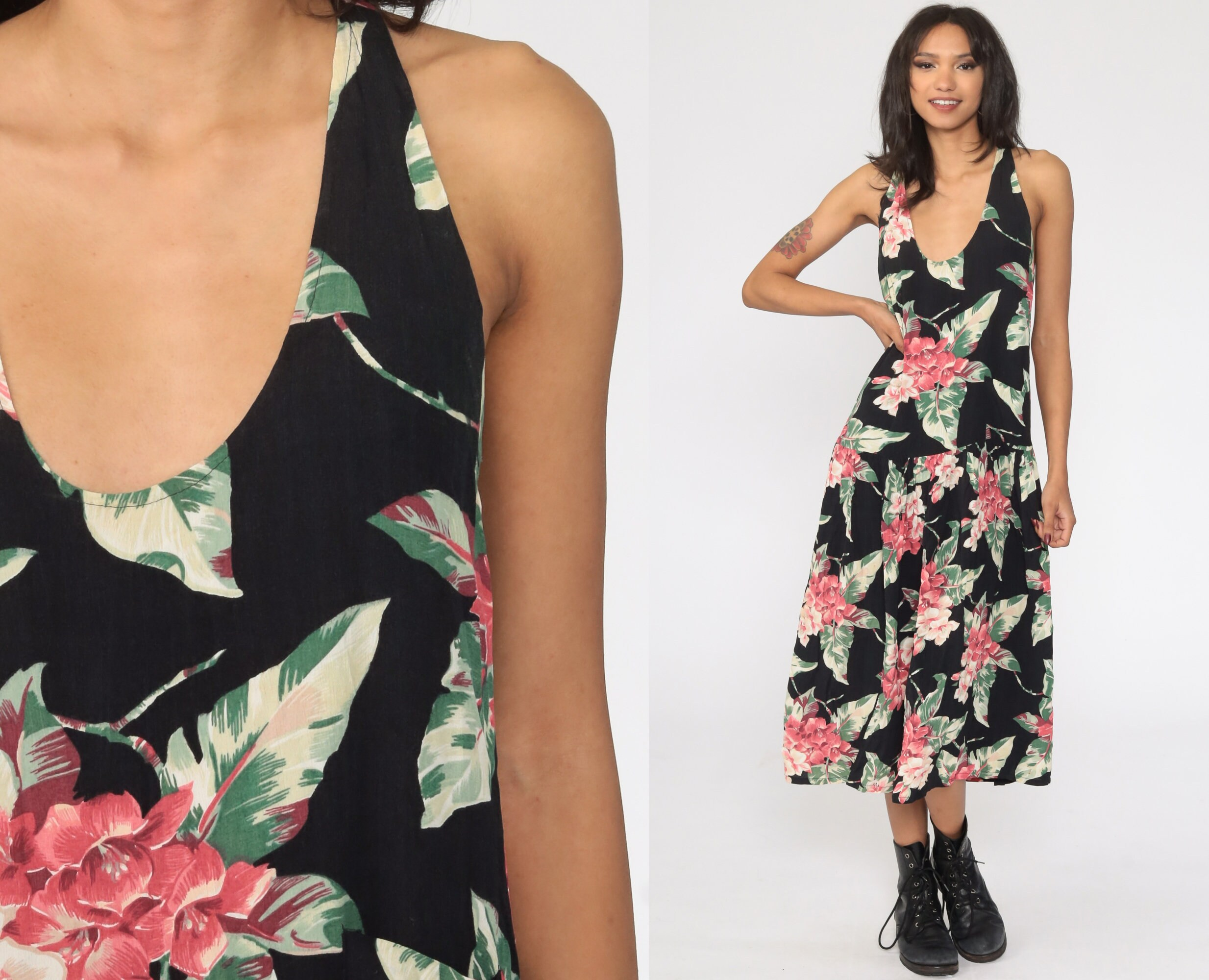 80s Black Floral Sleeveless Dress