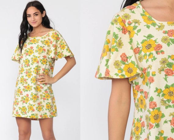 Floral Mini Dress 70s Boho Flutter Sleeve Yellow Shift 1970s BOW Vintage Bohemian Summer Garden Party Minidress Large 12