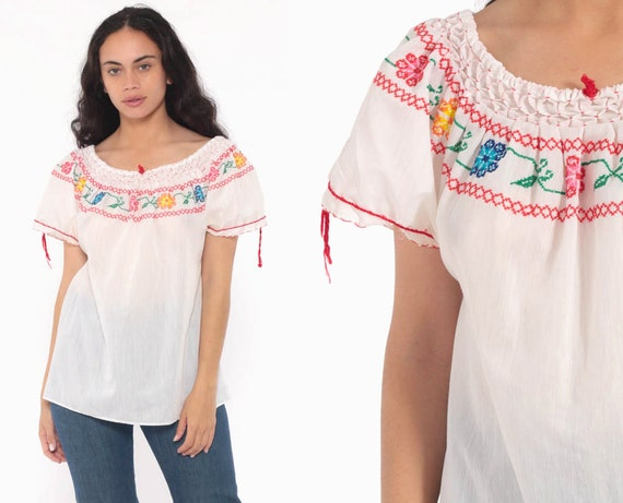 White Mexican Blouse Embroidered Top Peasant Semi Sheer Hippie Boho Shirt Tunic Bohemian Floral Vintage Ethnic Tent Small Medium