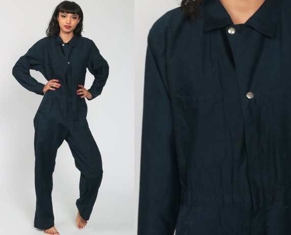 Navy Jumpsuit 80s Button Up Jumpsuit Tapered Leg Pants Utility Workwear Blue Pantsuit Vintage Long Sleeve Romper 1980s Small Medium