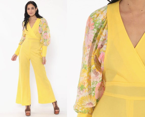 70s Bell Bottom Jumpsuit Yellow Boho Floral Puff Sleeve 1970s V Neck Hippie Vintage Bohemian Pantsuit Pants Long Sleeve Small