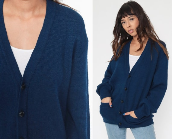 Blue Cardigan Sweater 80s Blue Sweater 1980s Button Up Acrylic Knit Grunge Grandpa Slouchy Vintage Plain Retro Nerd Oversized Medium Large