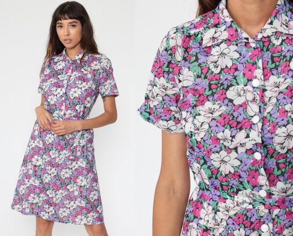 70s Mini Dress Purple Shift Floral Shirtdress Hippie Boho Dress Button Up Short Sleeve Vintage 1970s Bohemian Small Medium