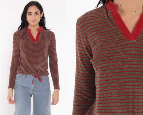 Rust Velour Shirt Striped Top Tie Waist 80s Long Sleeve Shirt Collared V Neck Retro Top 70s Freaks and Geeks Boho 1980s Pullover Small