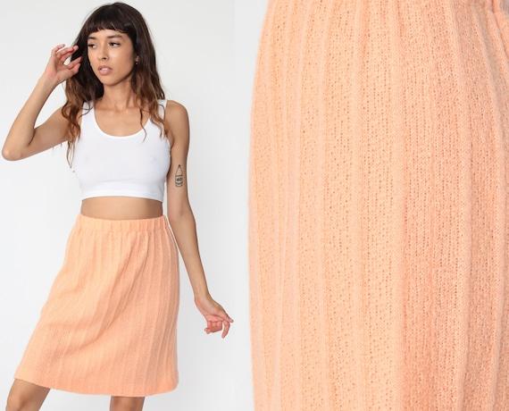 Knit Mini Skirt 70s Peach Ribbed Skirt High Waisted Plain Semi-Sheer A-line Retro Orange Skirt 1970s Vintage Miniskirt Small s
