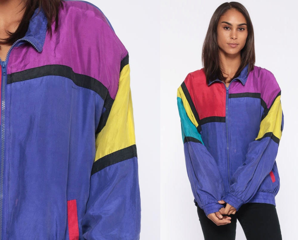 Vintage 80s color block shell unisex bomber jacket