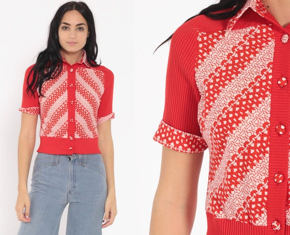 Cropped Blouse Red CHAIN PRINT Shirt 70s Boho Crop Top Button Up Bohemian Striped Geometric 1970s Vintage Hippie Short Sleeve Small