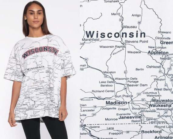 Wisconsin MAP Shirt -- 90s T Shirt State Map Graphic Print Retro Vintage Tee 1990s Midwest Great Lakes Extra Large xl l
