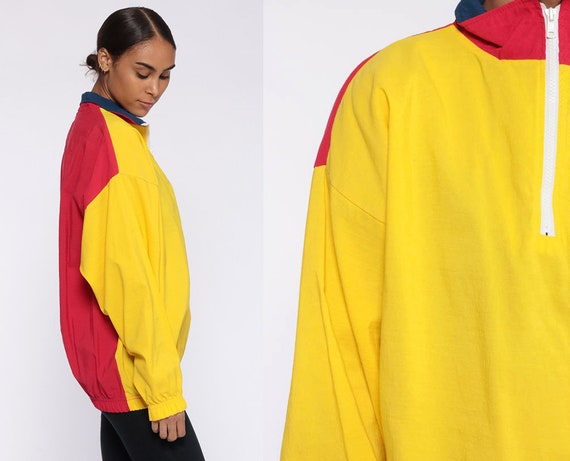 Yellow Windbreaker Jacket Large -- Red Color Block 80s Jacket Quarter Zip Pullover Bright Jacket Vintage 90s Retro Extra Large xl