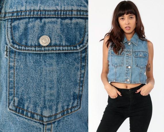 Levis Vest Top Denim Crop Top 90s Blue Sleeveless Jean Jacket LEVI Top 1990s Grunge Biker Vintage Women Button Up Small