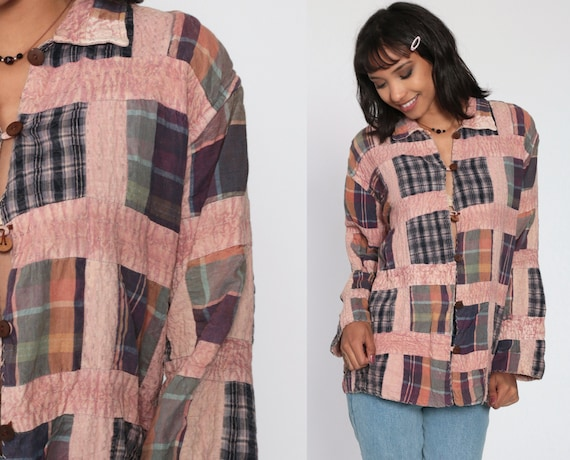 PATCHWORK Plaid Shirt 90s Grunge Pink Blouse Button Down up Lumberjack 1990s Vintage Long Sleeve Medium