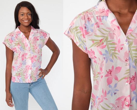 Tropical Floral Shirt Pink Hawaiian Blouse Button Up 80s Vintage Surfer Vacation Short Cap Sleeve Hibiscus Print Retro Top Medium