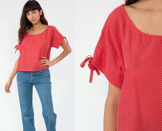 Red Polka Dot Blouse 70s Top BOW SLEEVE Boho Disco 1970s Tunic Top Vintage Short Sleeve Retro Large