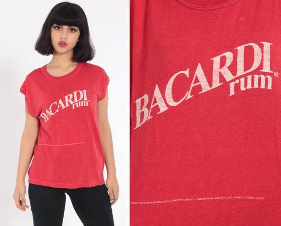 Bacardi Rum Shirt Drinking Tshirt 80s Tshirt Graphic Shirt Alcohol Print Paper Thin Worn Burnout Vintage T Shirt Retro Extra Large Xl