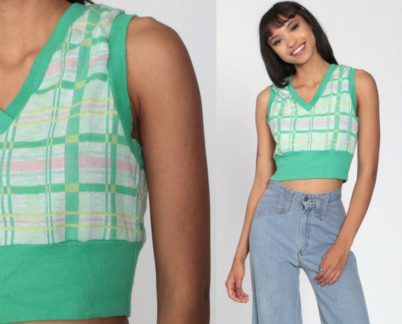 70s Sweater Vest Top Checkered Knit Tank Top Green Plaid  Retro Sleeveless Sweater Shirt Vintage Nerd Geek V Neck Small