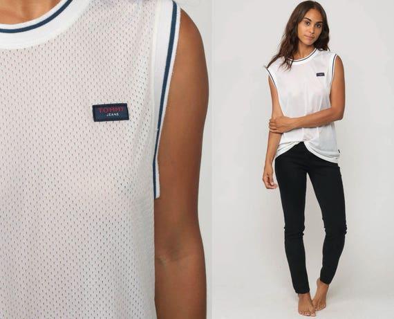 Tommy Hilfiger Shirt MESH Tank Top Sports Jersey Sheer Top Grunge White Retro Tee Athletic Vintage Urban Streetwear Medium