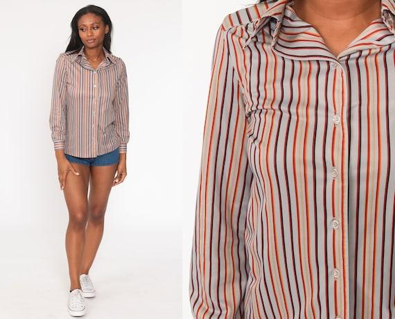 Striped Grey Shirt 70s Disco Shirt Boho Button Up Top Boho 1970s Hippie Vintage Long Sleeve Bohemian Small