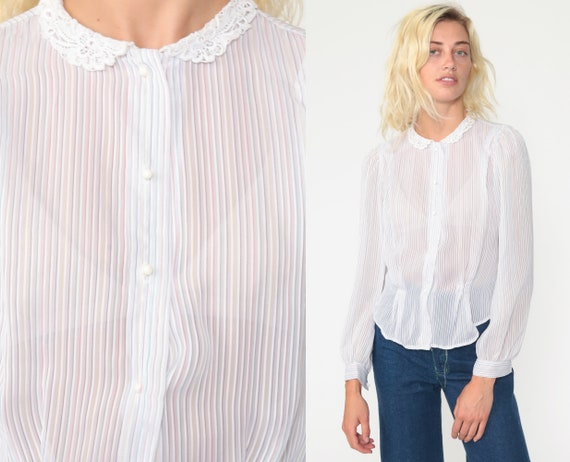 Puff Sleeve Blouse 70s Sheer Rainbow Striped Top Lace Peter Pan Collar Shirt Button Up 1970s Vintage Secretary Shirt Small s
