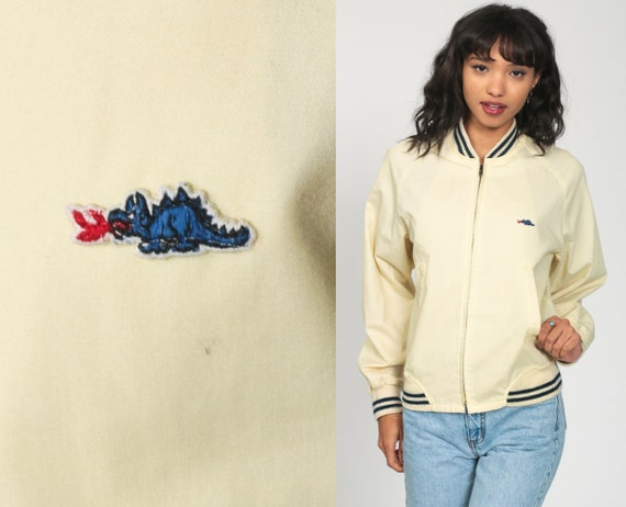 Dragon Track Jacket 80s Baseball Jacket Cream Windbreaker Striped Bomber Retro Raglan Sleeve Blue Preppy Zip Up 1980s Vintage Sports Small