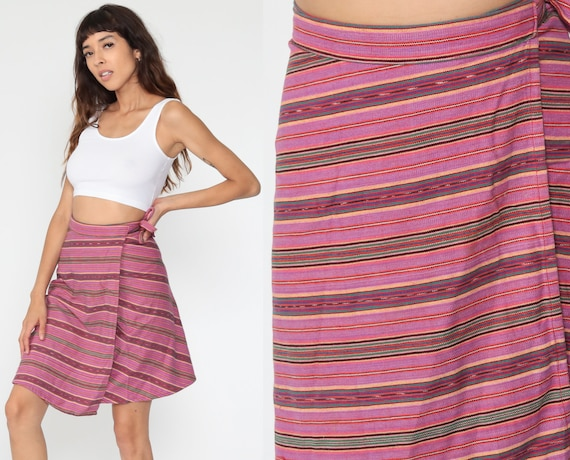 Purple WRAP Skirt Boho Cotton Striped 90s Mini Print Grunge 1990s Vintage Hippie Festival High Waisted Bohemian Red Small Medium