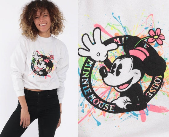 Minnie Mouse Sweatshirt Neon Paint Splatter Walt Disney Sweater 90s Shirt Cartoon Graphic Print Vintage Kawaii White Retro Extra Small xs