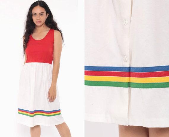 70s Midi Dress Red Primary Color Striped Dress 80s Sundress Boho Vintage 1970s Bohemian Sun High Waist Button Up Retro Medium